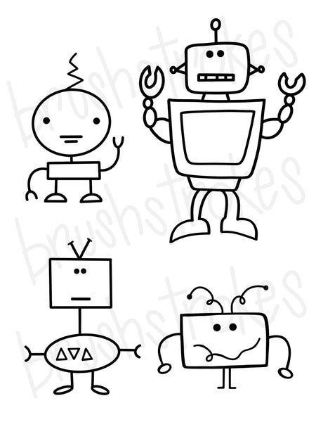 Robot Life Coloring Book Silk Screen