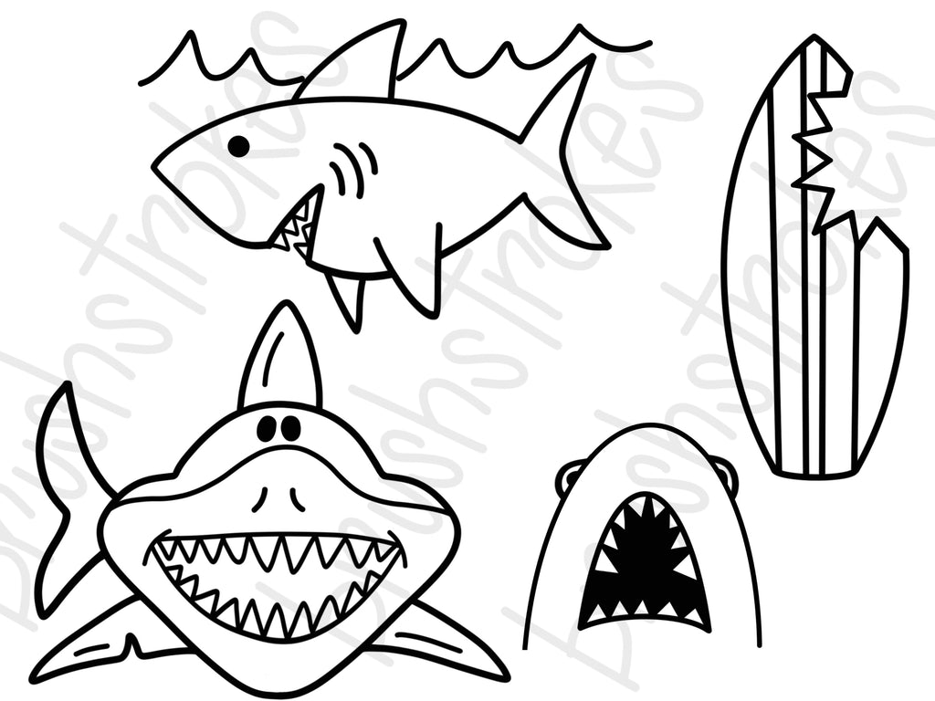 Shark Attack Coloring Book Silk Screen