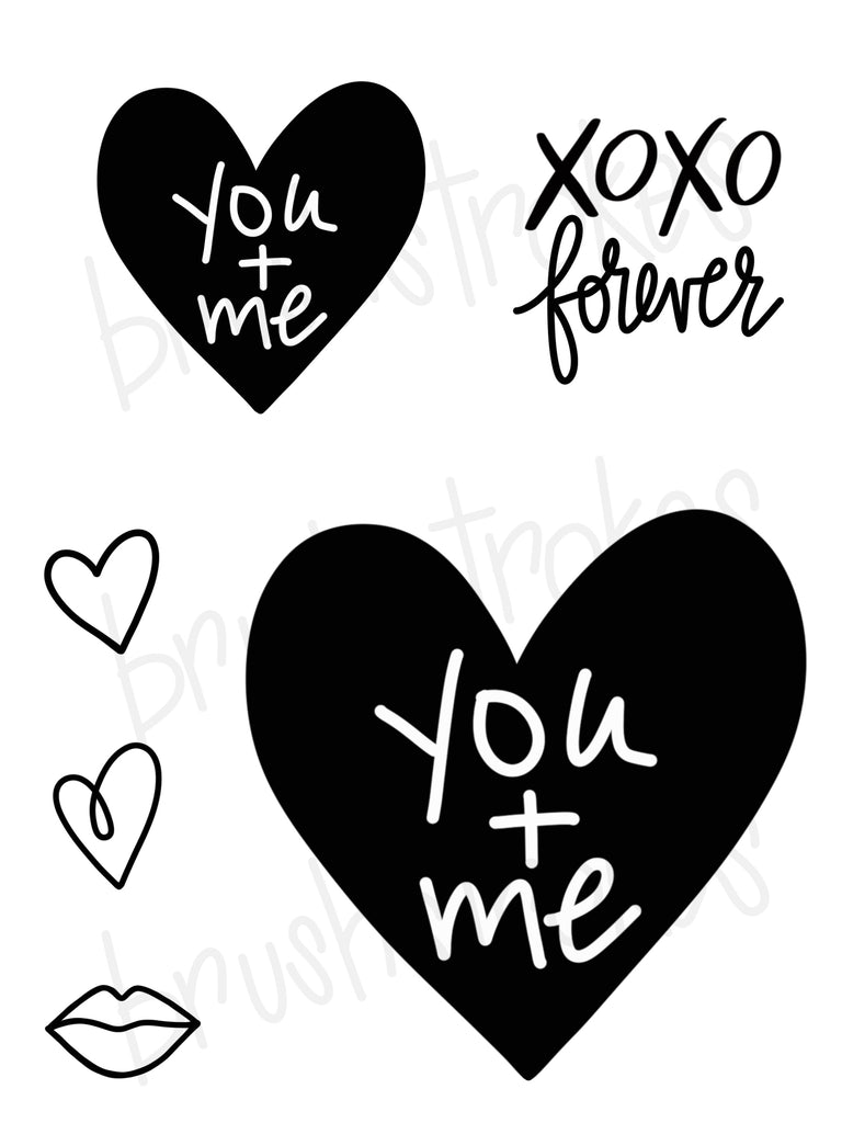 Simple Valentine Heart - You + Me  Silk Screen