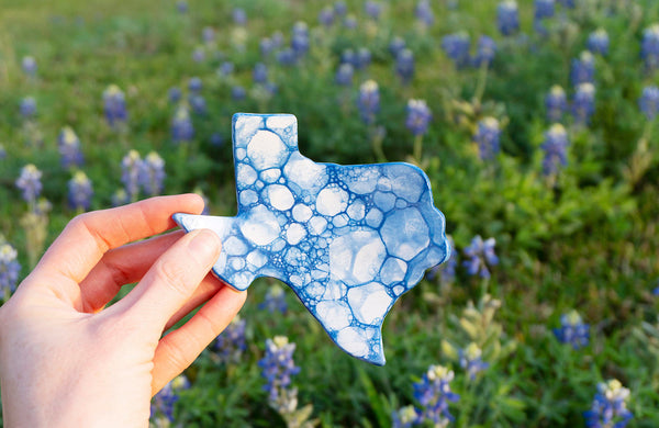 Texas Bluebonnet Bubble Ceramic Ring Dish