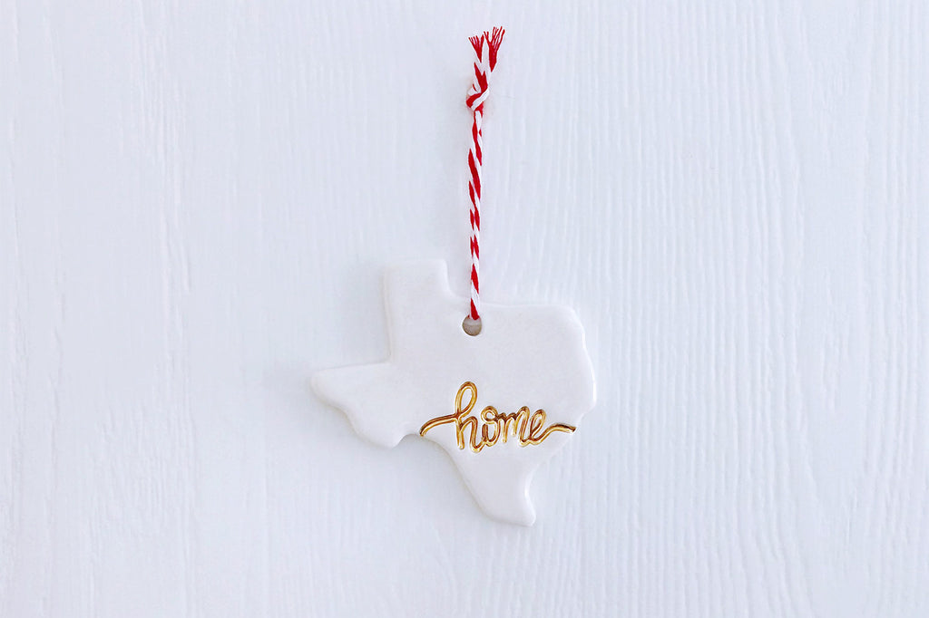 "Texas ""Home"" Christmas Ornament with Gold"