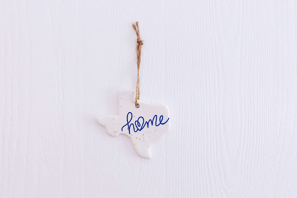 Texas Home Christmas Ornament - Blue Script Confetti