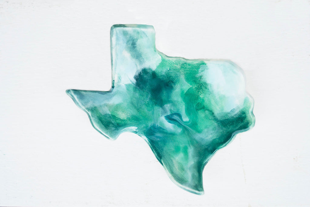 Texas Watercolor Ceramic Ring Dish - Teal