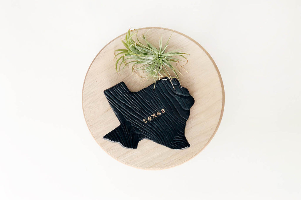 Texas Ceramic Ring Dish - Black Matte with Gold