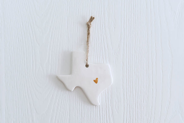 Texas Christmas Ornament with Gold Heart