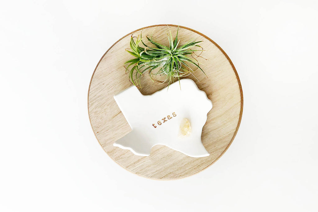 Texas Ceramic Ring Dish - White Gloss with Gold