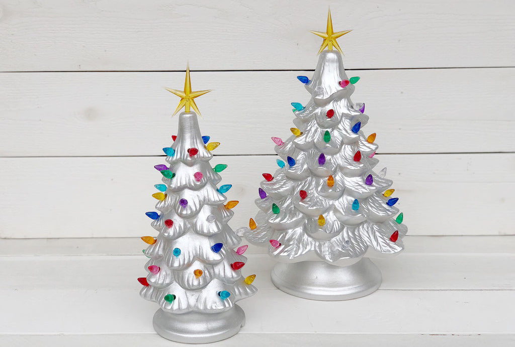 Vintage Christmas Tree  - Metallic Silver
