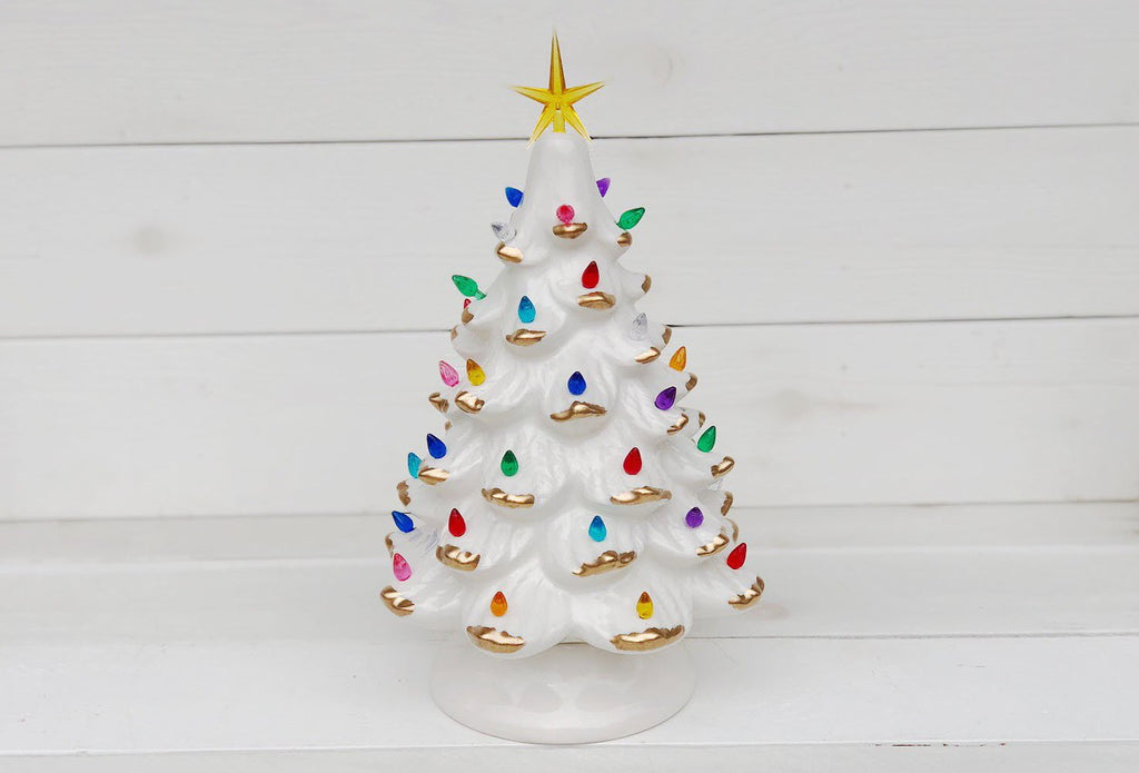 Vintage Christmas Tree  - White with Gold Leaves