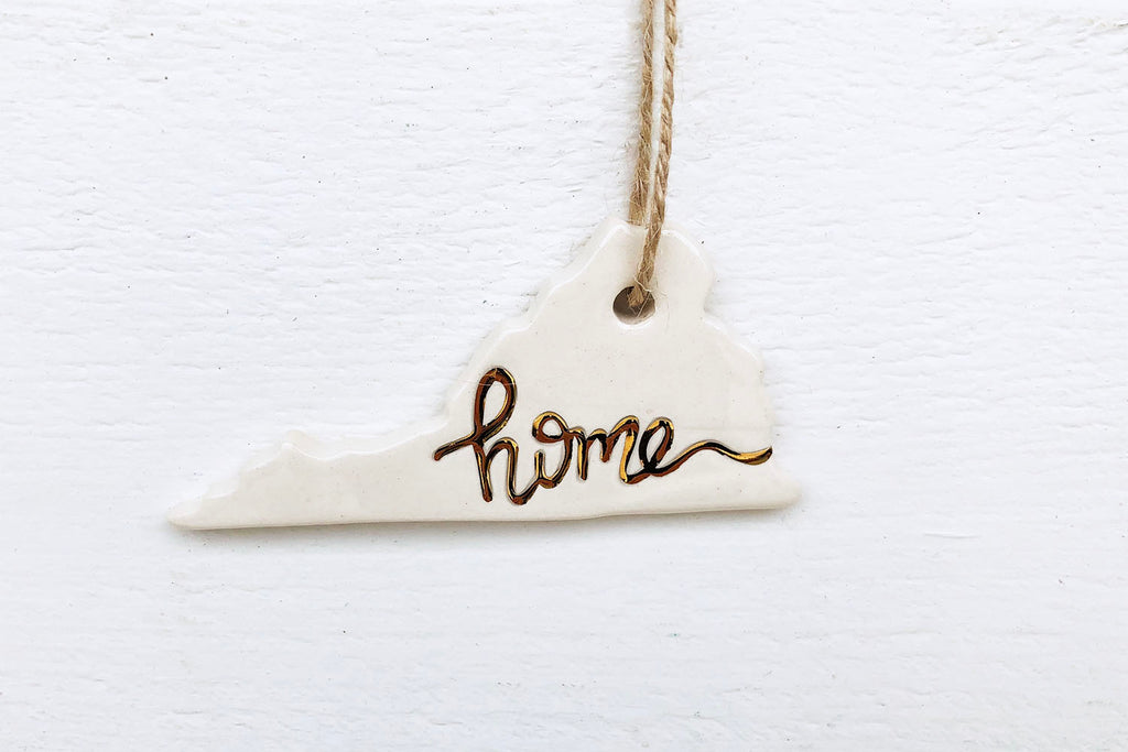 "Virginia ""Home"" Christmas Ornament with Gold"
