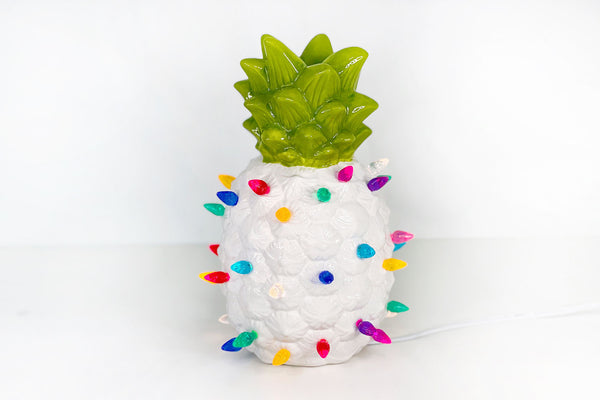 White Lighted Ceramic Pineapple