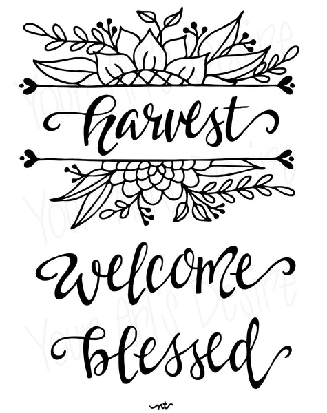 Harvest Blessed Welcome Fall Silk Screen
