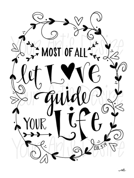 Let Love Guide Your Life - Coloring Book Silk Screen