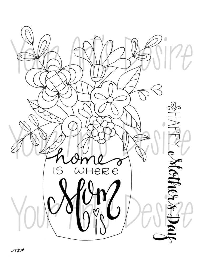 Mother's Day Coloring Book Silk Screen - Flower Vase