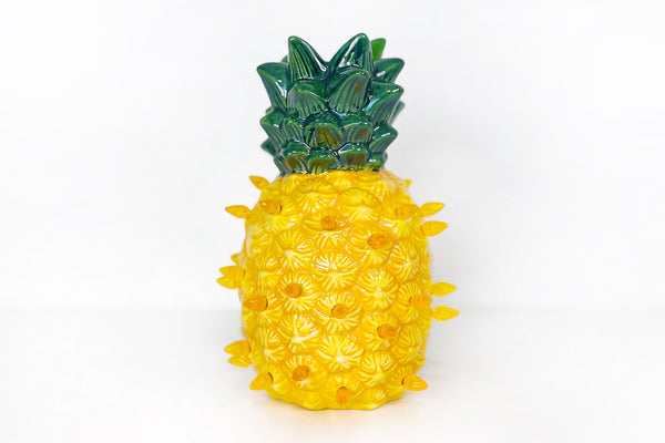 Bright Yellow Lighted Ceramic Pineapple