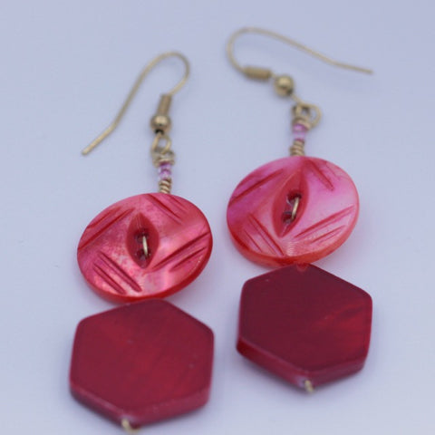 Red and Pink Vintage Button Earrings