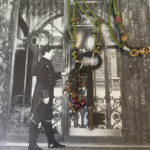 Vintage Skeleton Key and Pearl and Pyrite Tassel Necklace