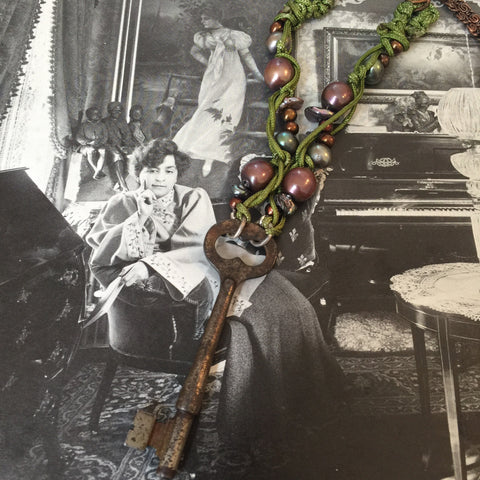 Vintage Skeleton Key and Pearl Necklace