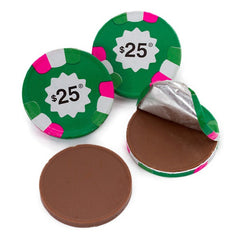 Chocolate $25 Green Poker Chips 10LB