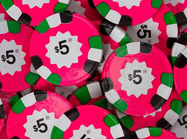 Chocolate $5 Pink Poker Chips 10LB