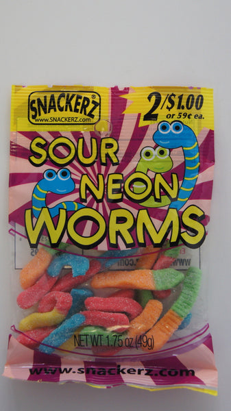 Sour Neon Worms 2/$1 (12 Count)