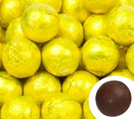 Yellow Chocolate Foil Balls 10LB Bulk