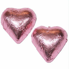 Bright Pink Chocolate Foil Hearts 10LB Bulk