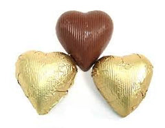 Gold Chocolate Foil Hearts 10LB Bulk