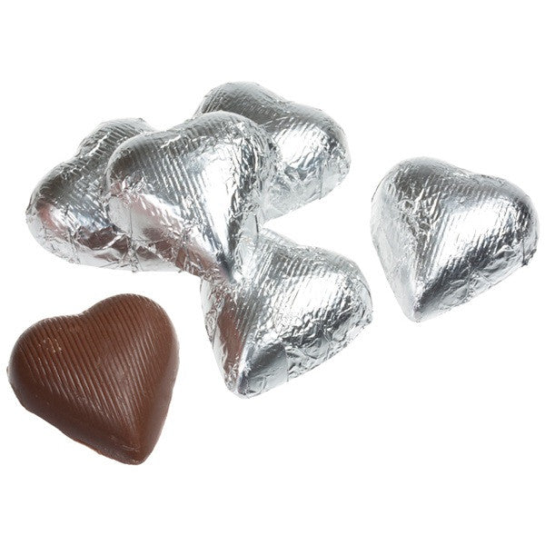 Milk Chocolate Silver Hearts 10LB Bulk