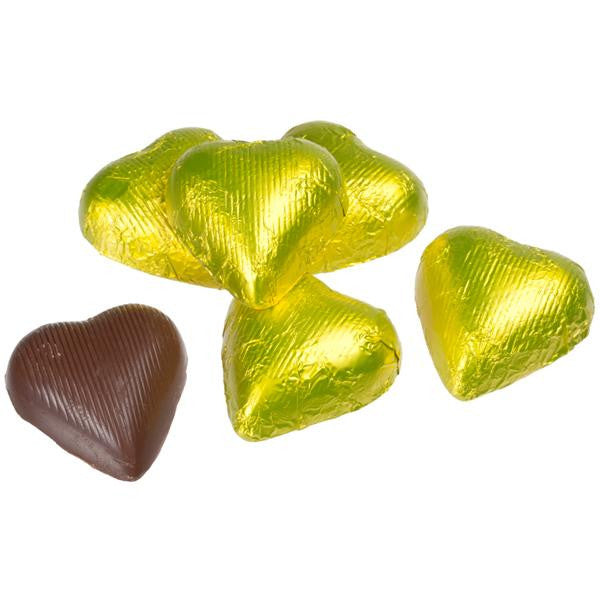 Yellow Chocolate Foil Hearts 10LB Bulk