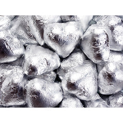 Dark Silver Chocolate Foil Hearts 5LB Bulk