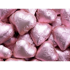 Light Pink Chocolate Foil Hearts 10LB Bulk