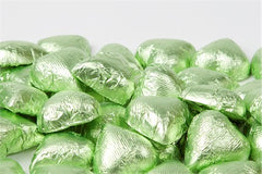Leaf Green Chocolate Foil Hearts 10LB Bulk