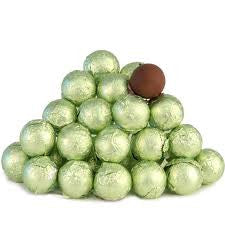 Leaf Green Chocolate Foil Balls 10LB Bulk
