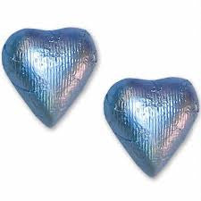 Pastel Blue Chocolate Foil Hearts 10LB Bulk