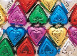 Milk Chocolate Rainbow Hearts 5LB Bulk