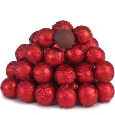 Red Chocolate Foil Balls 10LB Bulk