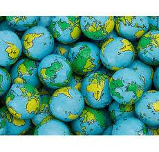 Milk Chocolate World Globes 5LB Bulk