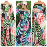 GET THE LOOK - Floral Stripe Chiffon Goddiss maxi Dress