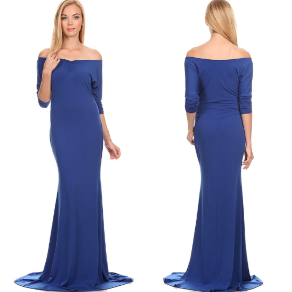 Royal Blue Off Shoulder Maxi Dress - Diva Boutiques