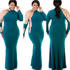 Plus Size - Teal Scale Sleeve Turtleneck Maxi Dress - Diva Boutiques