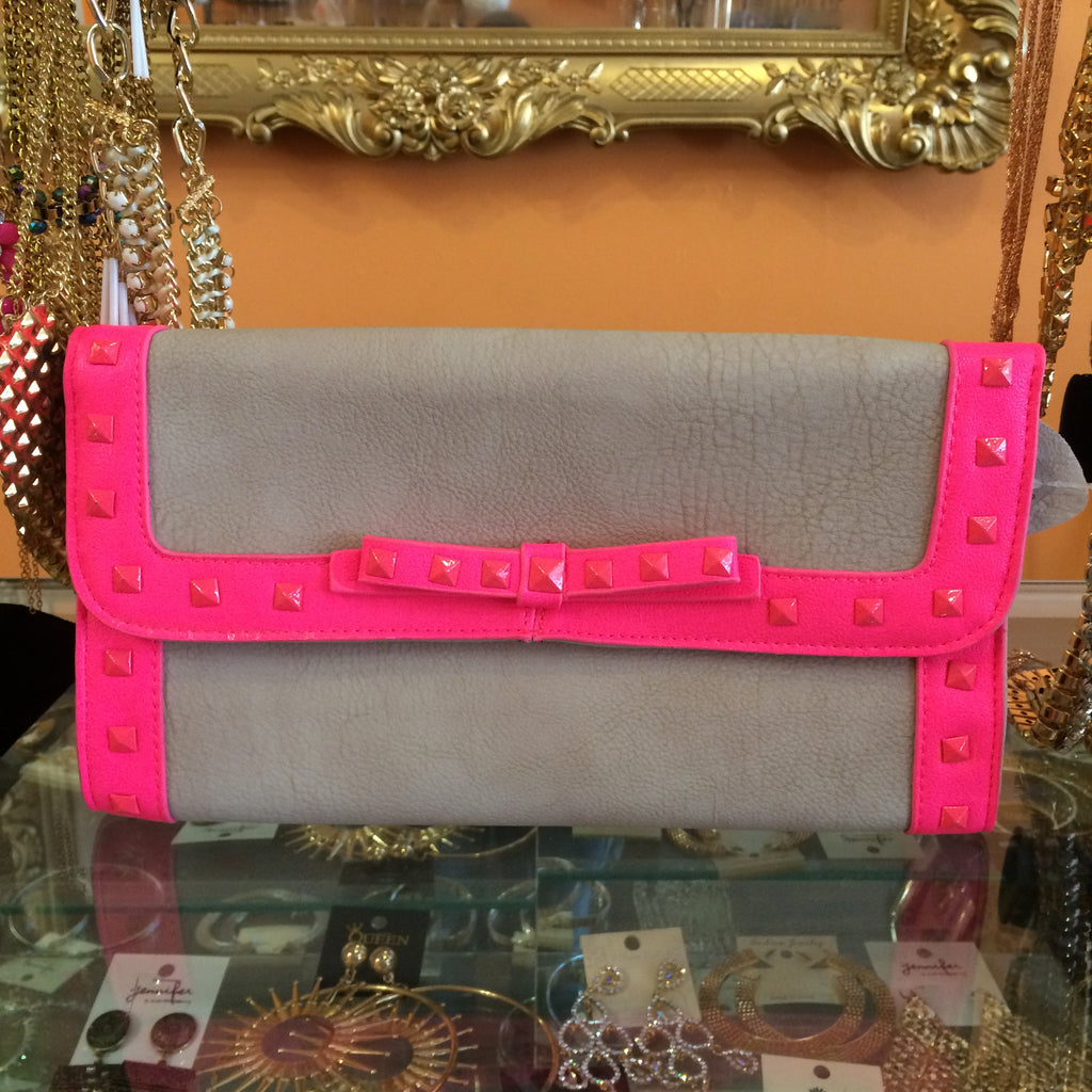Hot Pink & Gray Studded Clutch - Diva Boutiques