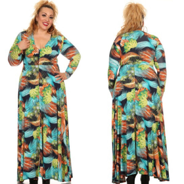 Plus Size - Multi Color Printed Maxi Dress - Diva Boutiques