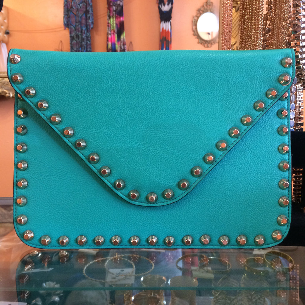 Turquoise Studded Clutch - Diva Boutiques