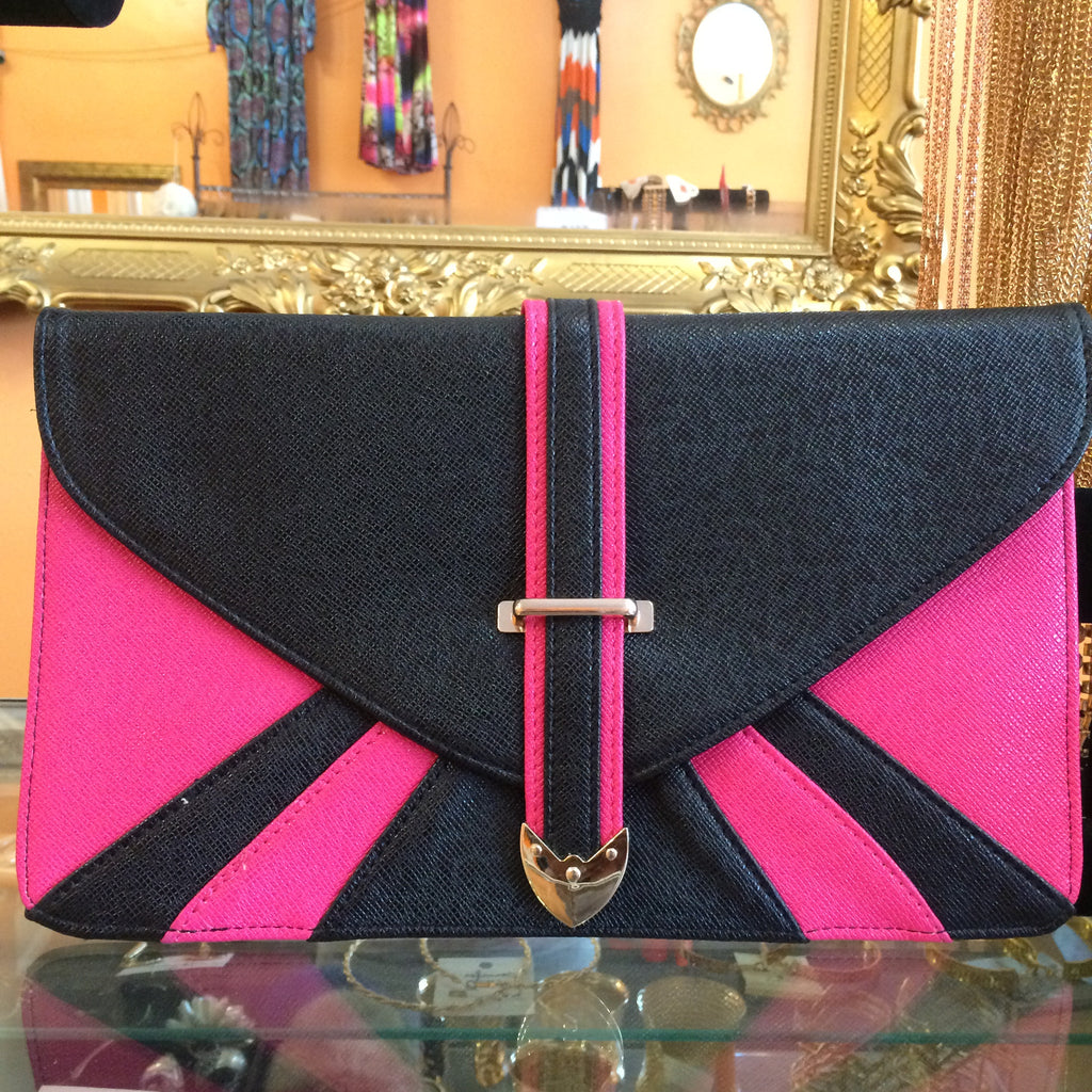 Fushia and Black Clutch - Diva Boutiques