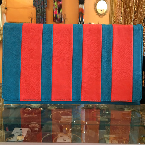Turquoise and Orange Envelope Clutch - Diva Boutiques