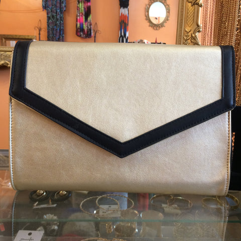 Gold and Black Envelope Clutch - Diva Boutiques