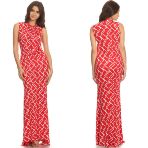 Red and White Maxi Dress - Diva Boutiques