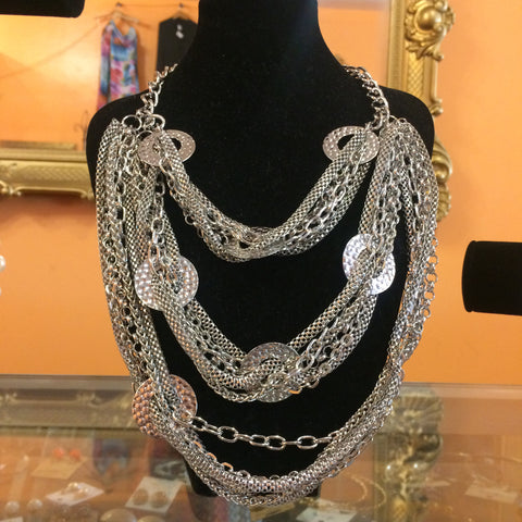 Silver Layered Chain Necklace - Diva Boutiques