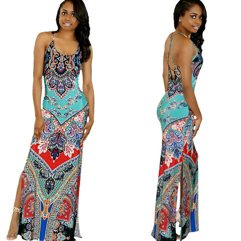 Turquoise Paisley Maxi Dress - Diva Boutiques
