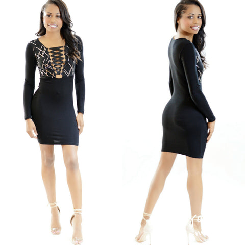 Black Lace Up Midi Dress - Diva Boutiques